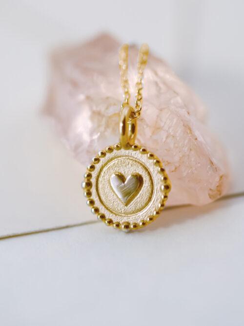 14k gold heart charm