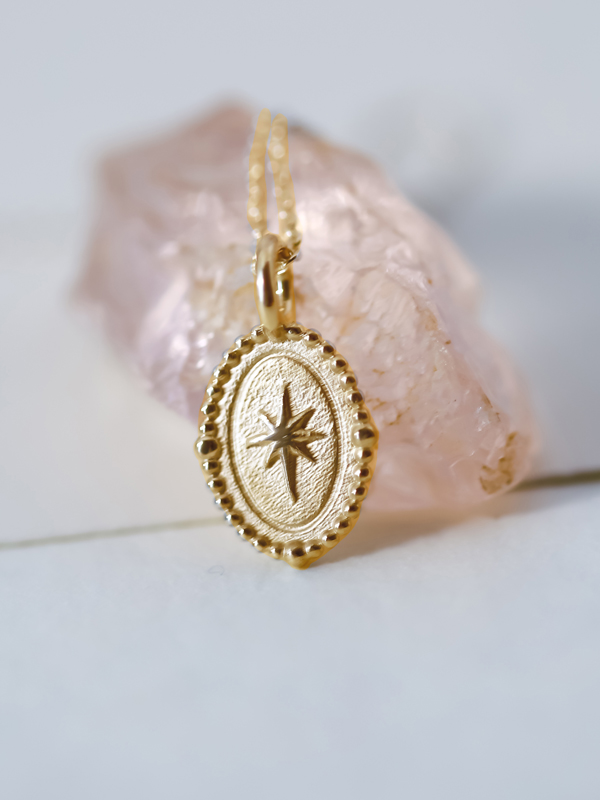 gold compass charm necklace