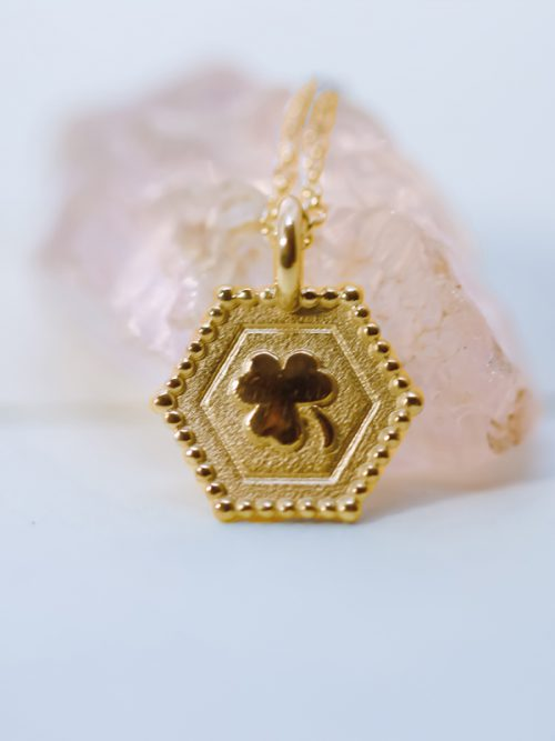 gold shamrock charm necklace