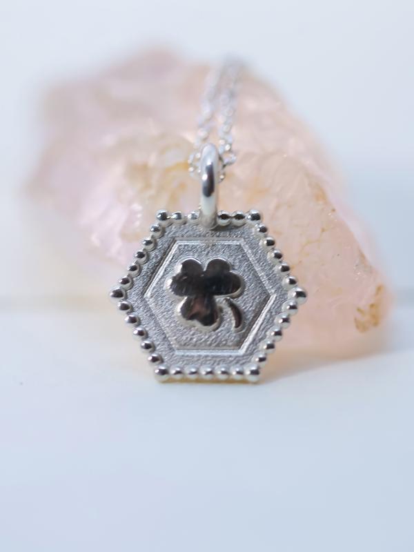 silver shamrock charm necklace